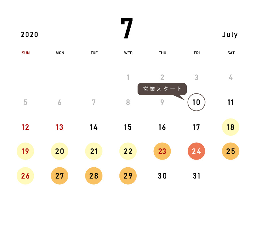 July 2020 Calendar for Expected Congestion