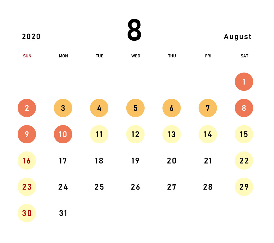 August 2020 Calendar for Expected Congestion