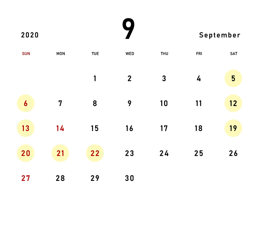 September 2020 Calendar for Expected Congestion